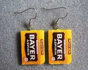 Bayer Aspirin Retro Kitsch Dangle Polymer Clay Junk Food Earrings Hypo Allergenic Nickle-Free
