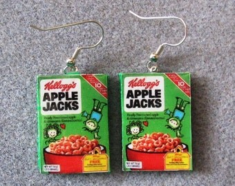 Kelloggs Apple Jacks Cereal Retro Kitsch Dangle Polymer Clay Junk Food Earrings Hypo Allergenic Nickle-Free