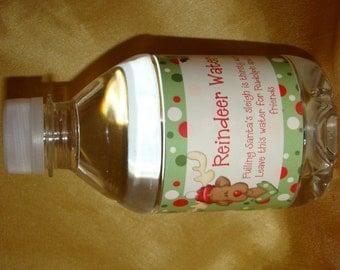 Digital Reindeer Water Bottle Favor Label