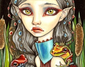 Princesse GRENOUILLE - surreal pop fantasy art frog girl fashion - 5x7 print of an original painting by Tanya Bond