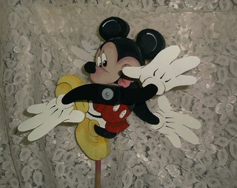 Whirligig Mickey Mouse hand crafted, handmade,Home & Living,garden decore,yard art,woodcraft,lawn ornament,outdoor garden,