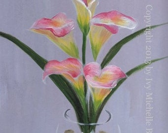 Pink Calla Lilies, Art Print of Acrylic Painting