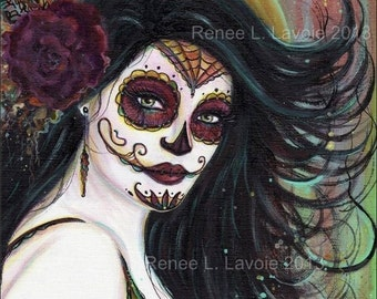 2.5 x 3.5 inches DAY OF THE Dead aceo  print Zatina  By Renee