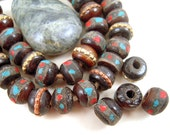 20 Brown Nepal Bone Mala Beads, Tribal, 8mm, Rondele, Rustic, Round, Blue, Red Glass Chips, Textured Brass, Copper Banded, AL03