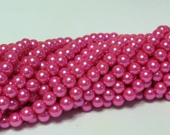 Glass Pearl Beads - 42 pc - Pink Pearl Beads - Bubble Gum -  8mm - Round - Dyed