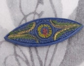 vintage glass ornate cobalt painted intaglio cabochon 27x10mm - f2941