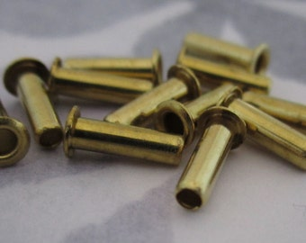 36 pcs. extra long raw brass eyelet rivets - f2984