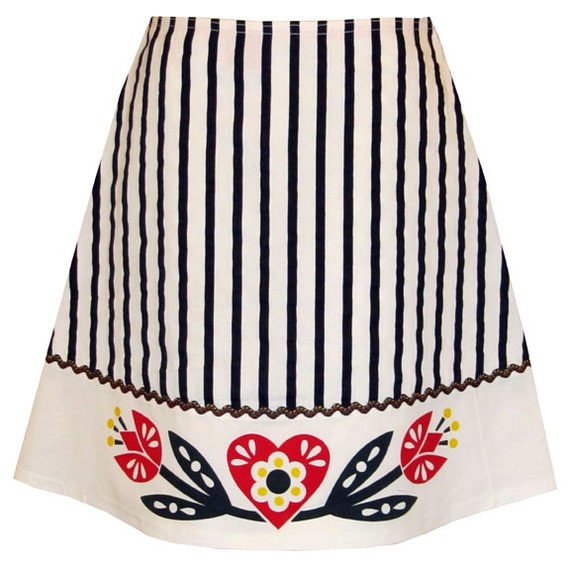sweetheart skirt navy blue and white sweet folkloric