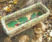 HOLLY textile art BASKET  hand  painted Tray  HOLiDAY GREENERY SERiES