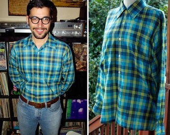 YOSEMITE 1960's 50's Vintage Bright Blue + Yellow Plaid Button Down Shirt // by Towncraft // size Medium