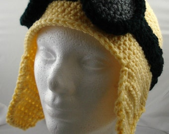 Crocheted Aviator's Helmet in Light Yellow with Black Rimmed Goggles (made to order)