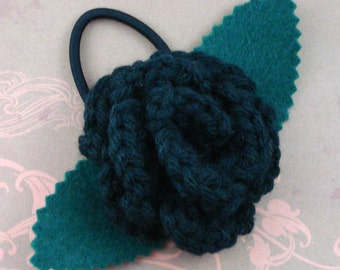 Crocheted Rose Ponytail Holder or Bracelet - Black (SWG-HP-ZZ01)