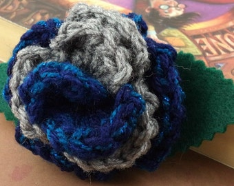 Crocheted Rose Bar Pin - Blue (with Sparkles) and Gray (SWG-PS-HWRA01)