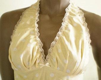 Retro Halter Bra Buttermilk Yellow Polka Dot Handmade Cotton Bralette Pretty Sleep Top Or Lingerie Custom Sizes