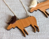 Moose Necklace outdoors animal wood antlers creature laser cut engraved