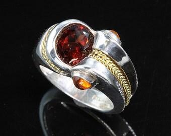 Sterling Silver, 18K, Garnet and Citrine ring