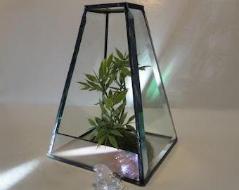 Modern Glass Terrarium, Beveled Reclaimed Glass, Planter, Home Decor, Display Case, Garden, Diorama, Case,  Atrium, Conservatory, Greenhouse