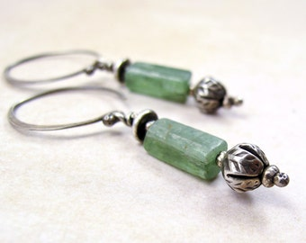 Silver Flower Bud Earrings with Light Green Kyanite