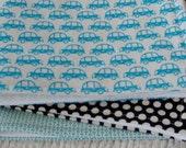 Blue car burp cloth trio
