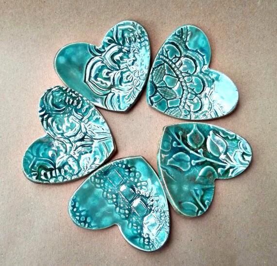 FIVE  Ceramic Heart ring bowls itty bittys Malachite Green