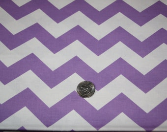 """7/8"""" wide CHEVRON - Marshall Dry Goods Fabric - One Yard - Lavender and White"""
