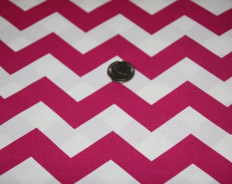 "7/8"" wide CHEVRON - Marshall Dry Goods Fabric - One Yard - Fuchsia and White"