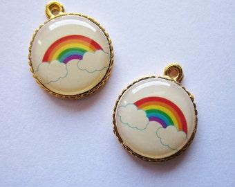 5 pcs of  tiny charms - Rainbow charm