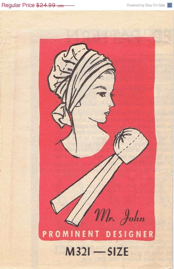 SALE Scarf Hat Pattern 1960s Prominent Designer Mr. John M321 Mail Order Vintage Sewing Pattern UNCUT