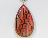 Pencil jewelry pendant Teardrop Reversible OOAK