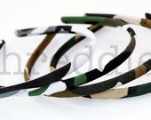5 camo headbands, skinny and comfy // wholesale lot of camouflage headbands