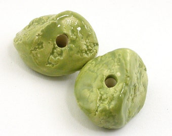 Sage Green Lava Textured Nugget Ceramic Beads