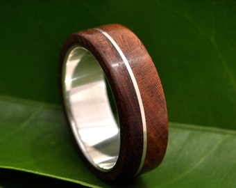 Wood Ring - Asi Nacascolo -  ecofriendly wood wedding band with recycled sterling silver, wood wedding ring, mens wood ring