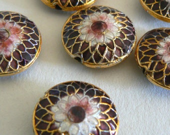 SALE 4 6x16mm Handmade Cloisonne Beads Gold Plated Brass Chrysanthemum Purple b2846