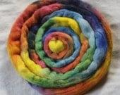 """Corriedale Roving in """"Rainbow"""""""