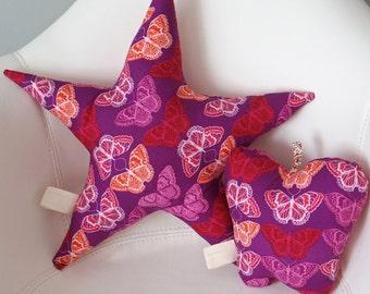 Star Pillow -Purple Butterlies
