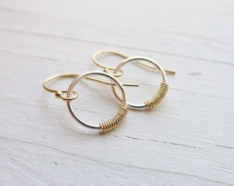 Embellished Circle Earrings - Mixed Metal Earring Silver and Gold
