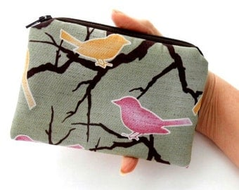 LIMITED Padded Zipper Pouch Coin Purse ECO Friendly Japanese Import Rare Songbirds on Green
