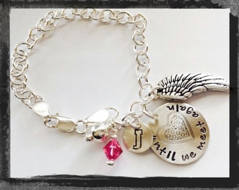 Angel Wing Charm Bracelet - Personalize - Hand Stamped -Until We Meet Again - Sympathy Jewelry