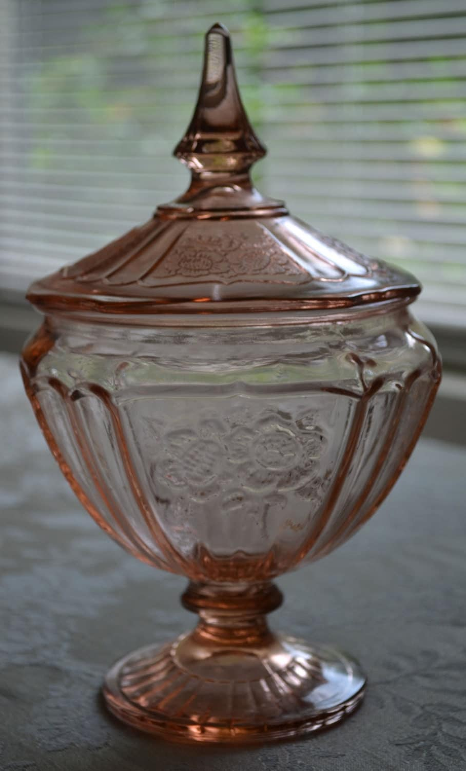 Pink Depression Glass Candy Jar Mayfair Open Rose Pattern