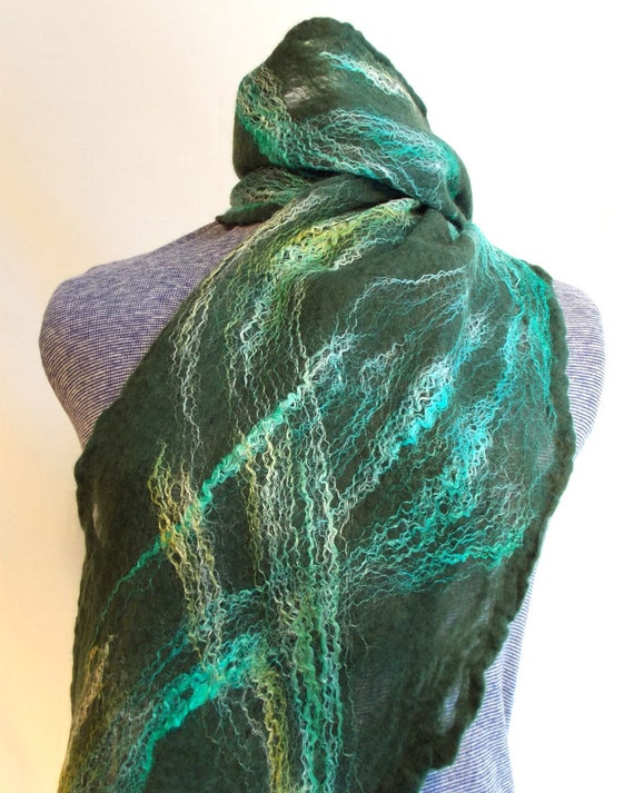 Green and turquoise felted scarf - Kentucky Blue Fiber