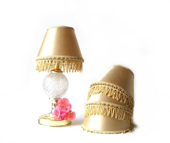 Small Wall Lamp Shades : Chandelier Lamp Shades Small Sconce Gold Fringe Shabby