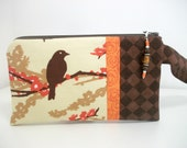 Wristlet Aviary in Almond Sparrow with Pocket Mirror
