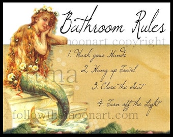 Vintage Mermaid Bathroom Rules