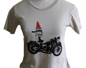 Biker Gnome Women's Short Sleeve Graphic Cotton Tee Shirt, gift for Women, Hand Screen Printed -Silver Grey- Gift for Women