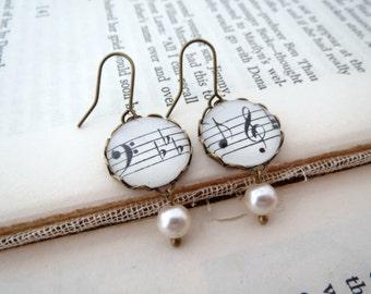 Vintage Brass Music Note Earrings