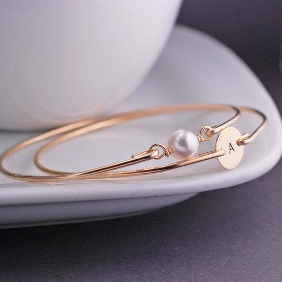 Gold Bangles, Personalized Gold Bangle Bracelet Set TWO Custom 14k Gold Filled Stamped Bracelet, Pearl