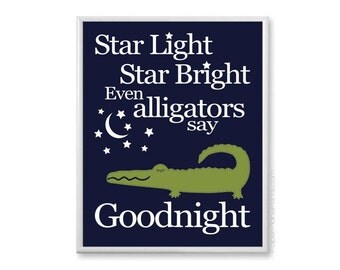 Nursery Wall Decor, Baby Wall Art, Alligator Nursery Decor, Baby Boy Nursery Art Print, Navy and Green Boys Room Decor, Toddler Boys 11x14