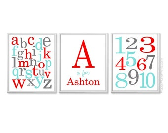 Aqua and Red Alphabet Number Wall Art, Personalized Baby Monogram With Name, Red Turquoise ABC Print 8x10, 11x14