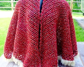 Red Cape - Handmade Crochet - Winter Fall Accessory