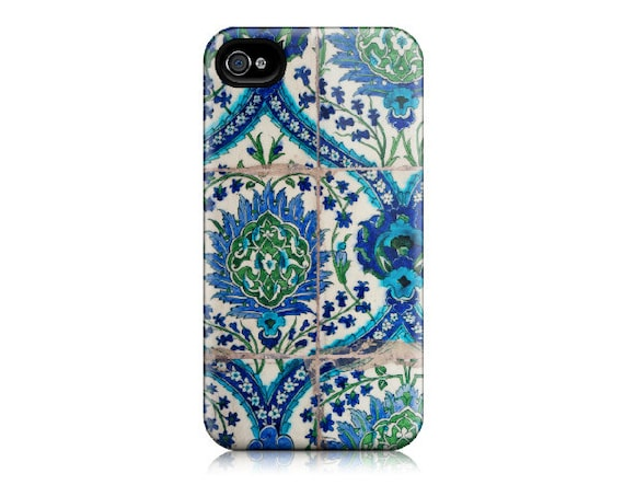 iPhone 4 Case, iPhone 4S Case - Moroccan Blue Green Tile Pattern, Ethnic, Middle Eastern - Maroc